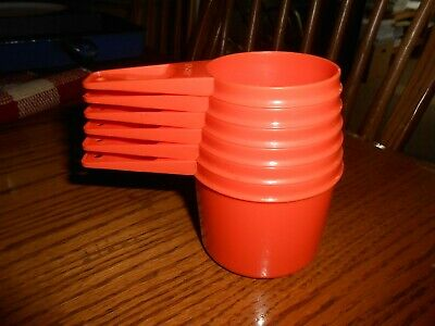 Vintage Set of 6 Orange Tupperware Measuring Cups NICE!