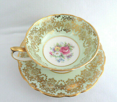 Vintage Paragon England Cup and Saucer ~ Mint Green Floral w/ Gold Trim