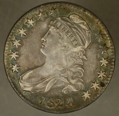 1824/1 Capped Bust Half Dollar Silver Higher Grade     ** FREE U.S. SHIPPING **