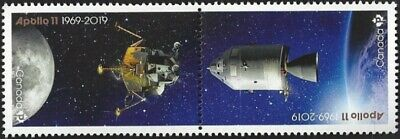2019  Canada   APOLLO 11 a&b 1969-2019   Brand New Pair 2019  Pane Stamp Issue