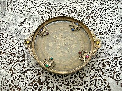 Antique Vintage French Jeweled Ormolu Gilt Lace Insert Vanity Tray