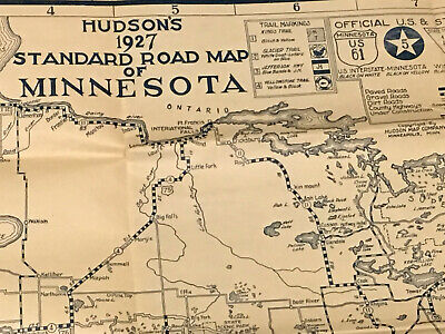 Hudson's 1927 Road Map of Minnesota Auto Trails