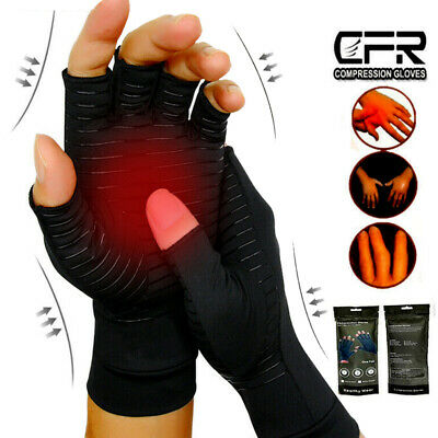 UK Copper Compression Arthritis Gloves Hand Wrist Support Carpal Tunnel Pain IA