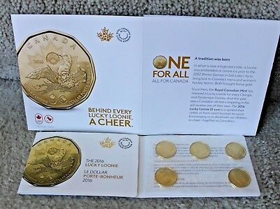 2016 Canada $1 Lucky Loonie 5-pack Olympic Dollar