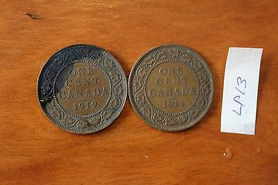 2 Canada Large Cent Coins , Canadian One Cents
