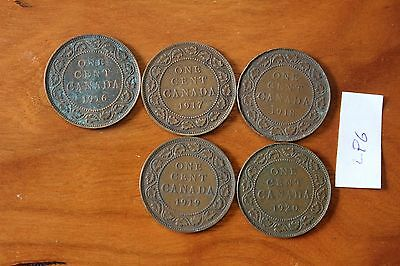 5 Canada Large Cent Coins , Canadian One Cents