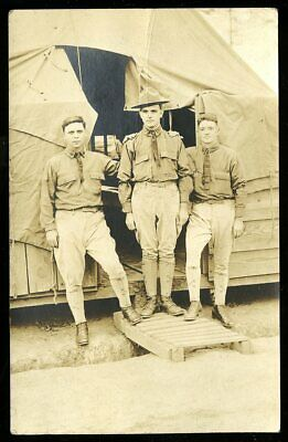 Vintage Real Photo Postcard RPPC WWI ARMY SOLDIERS POSE AT TENT CAMP 1915