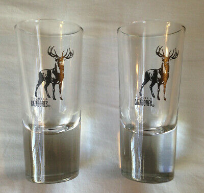 Tequila Cazadores Deer Nice Large Weighted Heavy Rare Shot Glass Set (2)