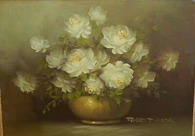 Vntg Robert Cox Original Signed Floral Oil Painting On Board, Beautiful Heavy Fr