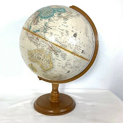 Vintage Replogie Globe World Classics Wood Base Raised Relief Metal Axis
