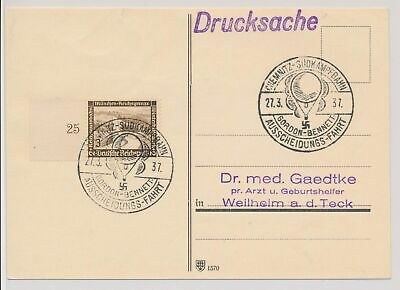 LK50478 Germany 1937 hot air balloons FDC postcard used