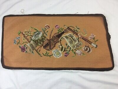 Vtg Musical Instruments Wool Needlepoint Piano Bench Peachy Tan