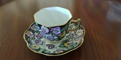 Vintage Salisbury Bone China Tea Cup & Saucer RARE Black, Purple Flower Design