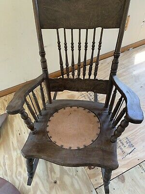 Solid Wood Antique Rocking Chair - Mahogany? Elm? Almost 100 Years Old