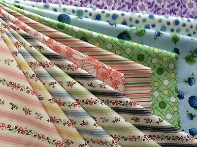 Clearance - 'Bouquets & Stripes' Cotton Quilt Fabric Samples - Quilt Gate
