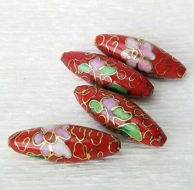 Red Cloisonne Enamel Chinese Tapered Oval Beads 26x9mm 4PCs