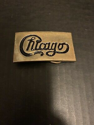 Nice Vintage 1970s CHICAGO Rock Band Logo Solid Brass Belt Buckle Rare Taiwan