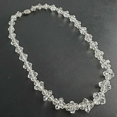 Vintage Art Deco Czech Glass Crystal Cluster Bead Necklace STUNNING! S134