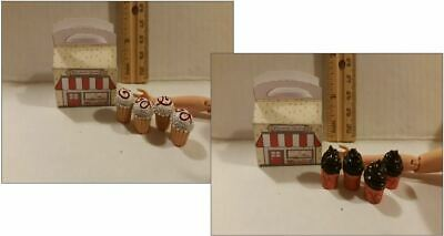 Barbie Doll 1:6 Kitchen Food Miniature Bakery Box of Cupcakes
