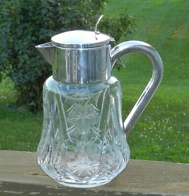 Vintage Cut/Etched Glass Large Pitcher Ice Chiller Crown Silverplate, Germany