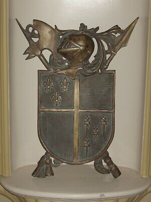 Vintage Solid Brass Medieval Warrior and Coat of Arms Wall Plaque