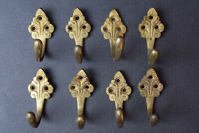 8 Reclaimed Victorian Brass Coat Hooks pegs rack old vintage antique edwardian