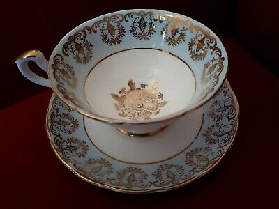 Salisbury Bone China Teacup And Saucer Light Blue Gold Gilt