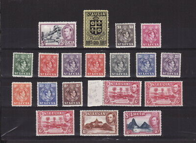 ST LUCIA 1938 KGVI COMPLETE DEFINITIVE 17 STAMPS SET to£1 - MINT L Hinged/ UNH