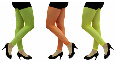 Ladies Womens Neon Yellow/Green/Orange Girls Fishnet Footless Tights One Size