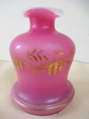 Elegant Antique French Finely Gilded Pink Opaline Bottle Decanter Decorative *F