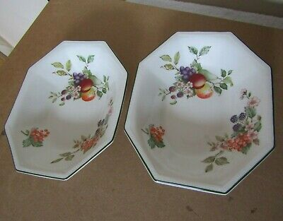 Johnson Brothers Fresh Fruit Pattern - 2 x Open Vegetable Serving Dishes  9.5'