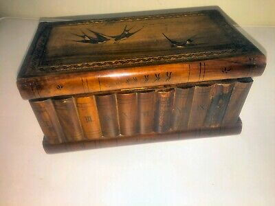 ANTIQUE 19thC OLD SORRENTO WARE INLAID OLIVE WOOD PUZZLE BOX WITH HIDDEN KEY