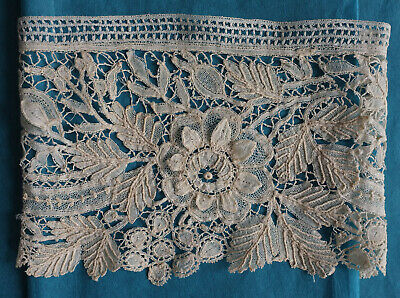 Pair 19th century Brussels duchesse lace cuffs