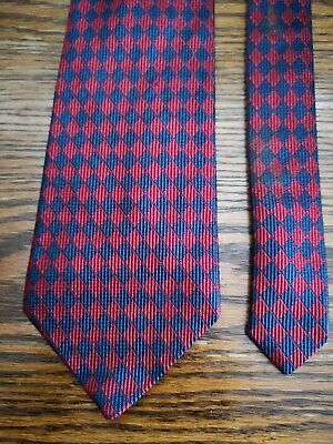 Harvie & Hudson Jermyn Street Made In England Silk Tie. Claret & Blue Diamonds.