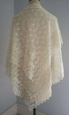 Antique  embroidered net lace veil / shawl