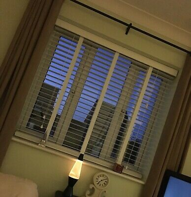 2 X BRILLIANT WHITE with TAPES - WOODEN VENETIAN BLINDS- 50mm SLAT & CHILD SAFE