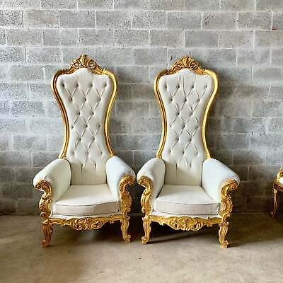Two unique French Baroque Chairs with High Backs-in white