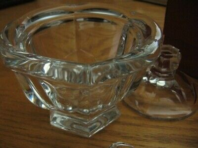 Baccarat Crystal Harcourt Large 5.5 Inch Jam or Sugar Bowl With Lid and Spoon