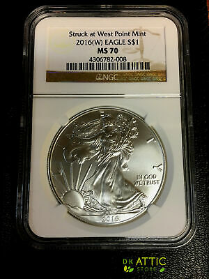 2016 (W) American Silver Eagle NGC MS70 Struck at West Point Brown Label