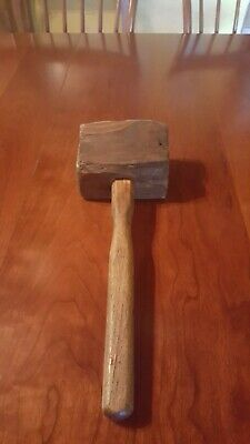 Antique 19th Century  Primitive Wooden Mallet made from Wagon Wheel