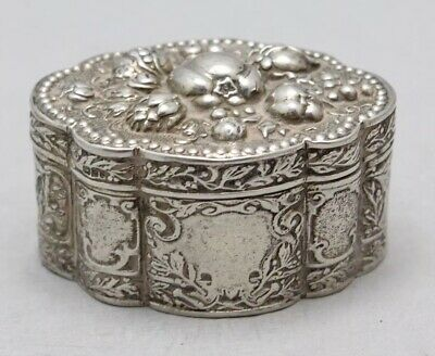antique Solid Silver Trinket Box HM Chester 1901.