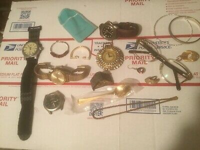 Vintage Junk Drawer Lot With Sterling Silver Jewelry, Watches And Souvenir Spoon
