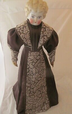 """28"""" Tall~Antique Blonde China Head Doll c1890s~Old Body w/Fab Clothing!"""
