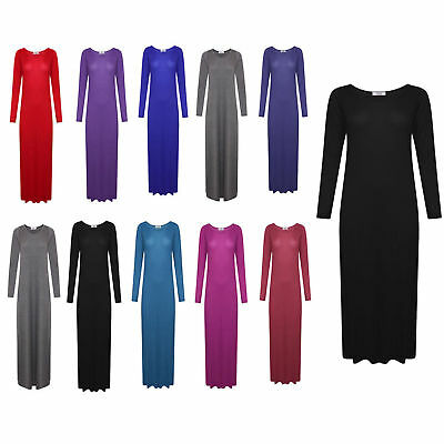 8a35a3a9 WOMENS LADIES LONG Sleeve Stretchy Plain Jersey Maxi Dress Plus Size ...