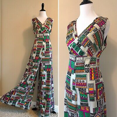 VTG 70s Vibrant Abstract Geometric Wide Leg Jumpsuit One Piece Romper Palazzo L