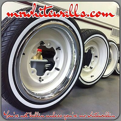 "Permanent whitewalls applied to your tyres 4 x 2"" width stripes"