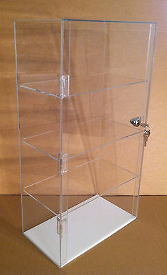 "USA- Acrylic Counter Top Display Case 12"" x 7"" x 22.5""Lock Cabinet Showcase Box"