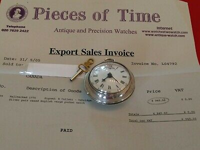 1775 Antique Eng Verge Fusee Sterling Silver Watch With Invoice & Document Paper