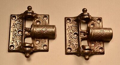 Ornate EC Stearns & Co Cast Iron Spring Loaded Screen Door Hinges Door Hardware