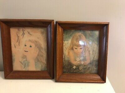Vintage Mid Century Child Girl in Solid Oak Frame 8 x 10 Opening